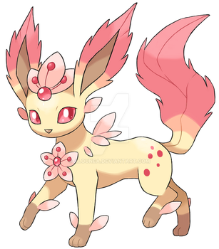 Leafeon (cherry blossom) by AlouNea