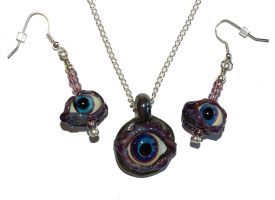 Evil Eye Set Handmade Glass Ar by copperrein