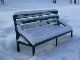 bench in the snow by 4ajka