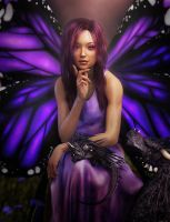 Fairy Girl with Butterfly Wings Fantasy Art by shibashake