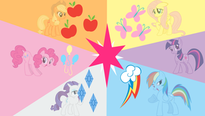 Mane 6 with Cutie Marks by luther38