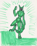 One color marker challenge- Emerald Robot Fox by DRYeisleyCreations