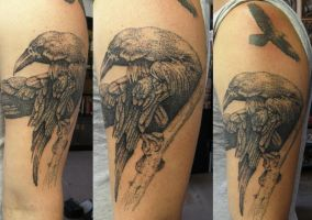 Huginn and Muninn in dots by phoenixtattoos