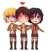 SnK: Eren, Mikasa and Armin! (+speedpaint vid) by Dorinootje