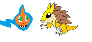 Sandslash and Remmy on paint by Rotommowtom