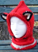 Red with White Stripe Fox cowl and hood - Toddler by Arexandria