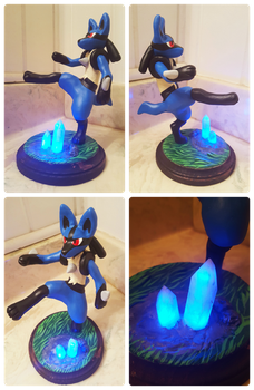 Kicking Lucario Light-Up Sculpture by Kyreon