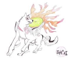 Okami Fan Art by SiteTheWhiteMoonWolf