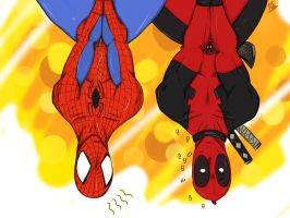 deadpool x spiderman by ulquiorravastolorde