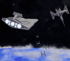 Spore: Star Destroyer Approaching a Starbase by Cyrannian