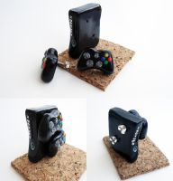 Miniature Xbox with controller earrings by FrozenNote