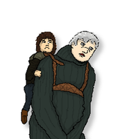 Hodor and Bran Pixel Art by onlo