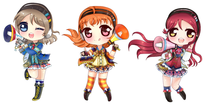 Initial Chibi UR Chika , You and Riko by jeash022