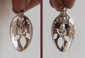 Turning leaf elven silver spoon pendant by fairyfrog