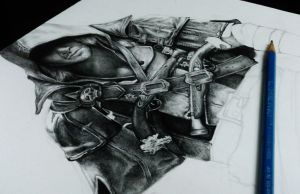 Assassins Creed 4 Black Flag Pencil Drawing WIP 2 by Keshavsart