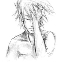 Kakashi without his mask-skech by Agnet