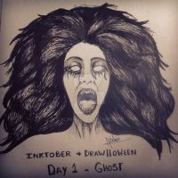 Inktober + Drawlloween - Day 1: Ghost by Altahen