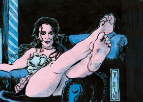 Woman on couch by DiegoTripodi