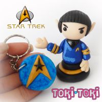 Star Trek Spock And Logo Keychain Figurine by MadeByTokiToki