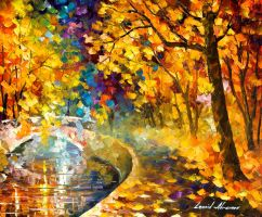 Around the bridge oil painting by Leonid Afremov by Leonidafremov