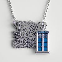 The Tardis on a Starry Night - Necklace by MonstersPins