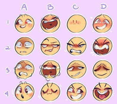 Facial expressions for commissions examples by Maplewood1234