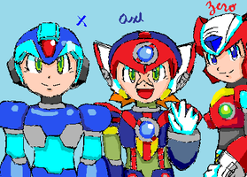 X, Zero and Axl by EnzanBlues456