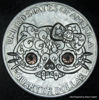 Hello Kitty Sugar Skull Hand Engraved Quarter Hobo by shaun750