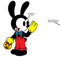 Oswald calls Ortensia to get candy in Halloween by SuperMarcosLucky96