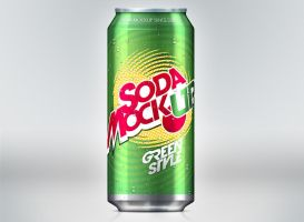 Free Soda Can Mock-Up Template by Pixeden