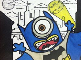 Despicable me minion batman painting half done by sampson1721