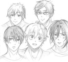 [Sketch] Free ! characters by yoolin