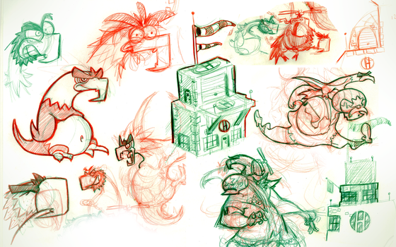 Helicopteropolis - Sketches 1 by boogiebac
