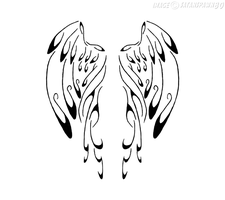 Calligraphy Angel Wings by satanspawn80