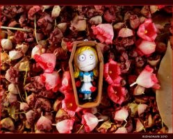 FIMO Alice in Death on flowers by buzhandmade