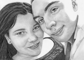 Graphite drawing of Nick and Emma by mo62