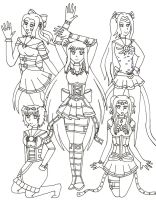 Inner Steampunk Senshi Group -WIP Lines- by NekoChanTheKitty