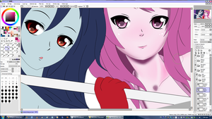 Wanna hang out? Marceline n Princess Bubblegum WIP by jetfree730