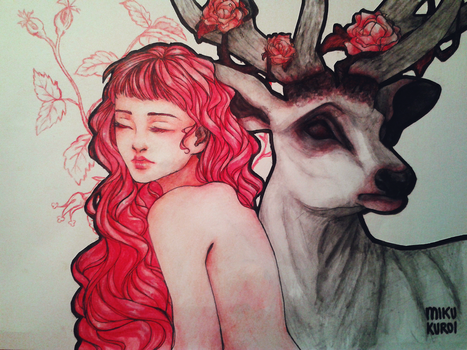 Deer and Roses by MikuKuroi