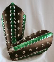 Green Silver Spiked Dragon Scaled Leather Bracers by ArmouredWolf907