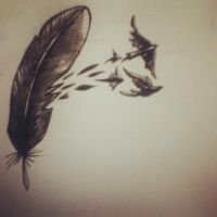 Tattoo Design - Feather and Birds by LookAliveHolly