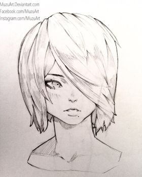 2B Face sketch by MuzuArt
