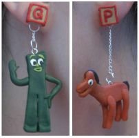 Gumby and Pokey earrings by estranged-illusions