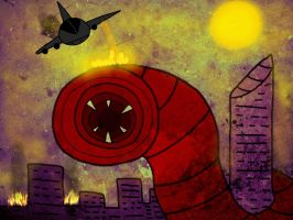The Death worm and the city by MegaDISASTER
