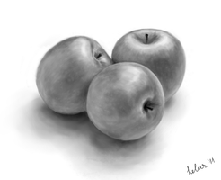 Apples black-and-white by helur