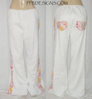 White fleece skull pants by funkyfunnybone