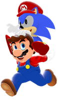 Classic Sonic and Modern Mario by IcePony64
