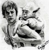 Yoda Trains Luke by geekyglassesartist