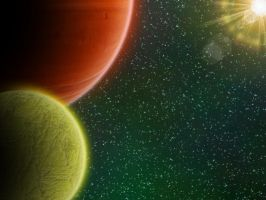 Gas Giant and Friend by Coelophysis83