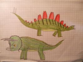 Triceratops and Stegosaurus by LacitheHunter